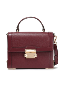 Woman Jayne Studded Pebbled-leather Shoulder Bag Merlot Size -- Michael Michael Kors. Купить за 12500 руб. - Crossbody bag Pebbled-leather Gold hardware Detachable adjustable shou...