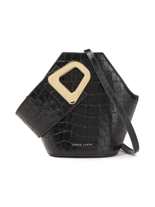 Woman Johnny Croc-effect Patent-leather Bucket Bag Black Size -- Danse Lente. Купить за 13600 руб. - Bucket bag Patent-leather Croc-effect Designer stamp Gold hardware Adj...