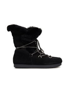 Woman Far Side High Lace-up Shearling-trimmed Suede Snow Boots Black Size 41 Moon Boot. Купить за 12200 руб. - Snow boots Suede Lace-up front Round toe Pull on Lined in shearling Ru...