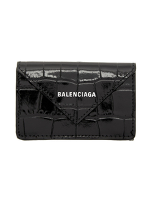 Balenciaga Black Croc Mini Papier Wallet 31007106