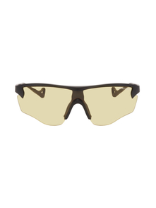 Black and Yellow Junya Sunglasses District Vision. Купить за 12878 руб. - Shield-style acetate-frame sunglasses in matte black. Yellow anti-refl...