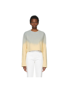 Blue and Yellow Cropped Sweatshirt Acne Studios. Купить за 16919 руб. - Long sleeve fleece sweatshirt in yellow featuring spray-dyed gradient ...