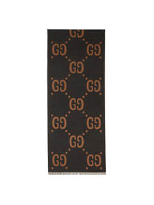 Gucci Grey And Brown Wool Gg Scarf 28016386