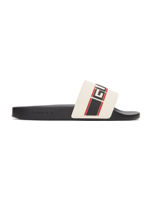 Off-White St. Nastro Sport Slides Gucci. Купить за 19191 руб. - Rubber slip-on sandals in off-white. Open round toe. Logo in red and b...