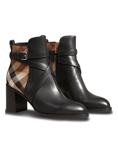 Burberry House Check And Leather Ankle Boots 4036482