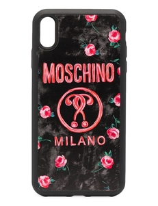 Чехол Double Question Mark для iPhone XS Max Moschino. Купить за 6012 руб. - Принт с изображением роз.
