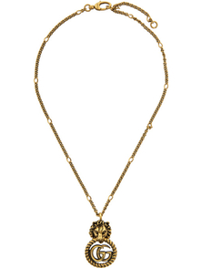 Gucci Gold Double G Lion Head Necklace 28190640