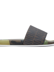 Moschino Brown Logo Camouflage Slides 29474524